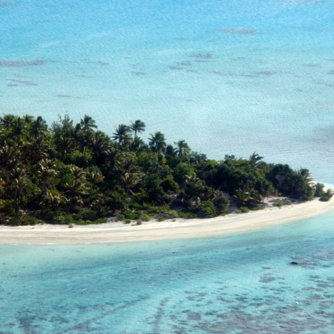 Aerial view of Aitutaki Lagoon Cook Islands